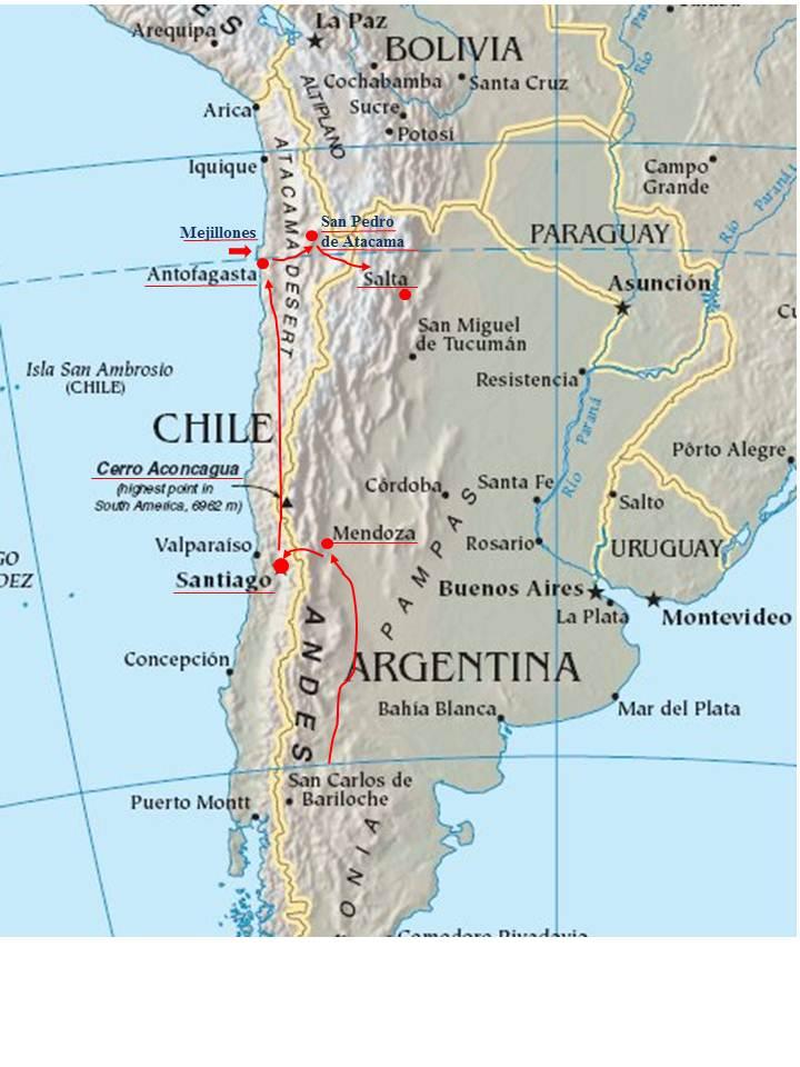 Atacama Wüste Karte.Santiago De Chile über Die Anden Südamerika Tour Claudia Wiebe